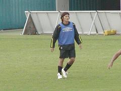 練習中の平山選手