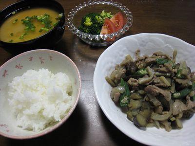 オクラとナスの肉みそ炒め定食
