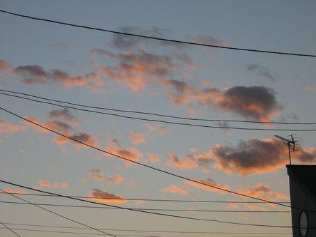 サーモンピンクの夕焼け。