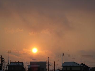 雪のち夕日