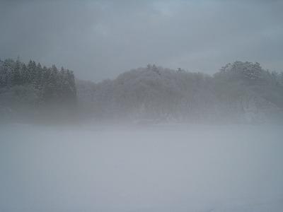 夕日のち濃霧