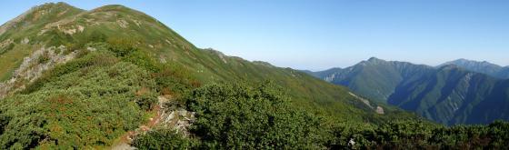 092103千枚岳にて悪沢岳・丸山・塩見・間ノ岳