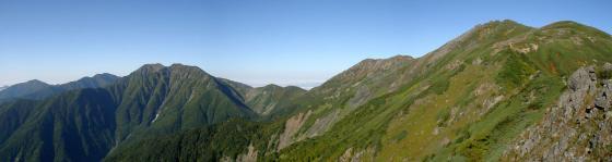 092102千枚岳にて赤石・中岳・悪沢岳