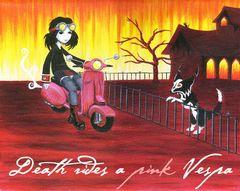 Death rides a pink Vespa
