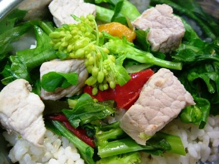 穂の先と豚肉の炒め物