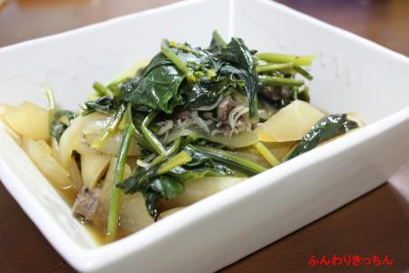 緑野菜と根菜類のレバー炒め