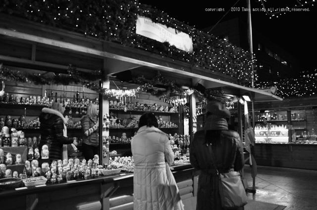 2010年ミュンヘンクリスマス市モノクロ
