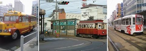 函館の市電とバス。本当にいろんな種類が走っている。