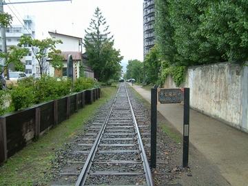 1985年で廃止になった北海道最古の手宮線。碑には1880年~と刻まれている。