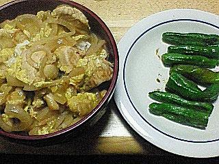 親子丼とシシトウ