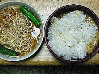 冷麦の味噌汁