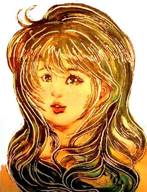 アクリル着彩の女の子