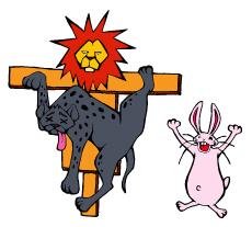 ウサギとハイエナとライオンのかかし-(小)