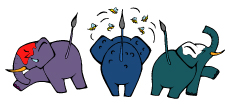 3匹のゾウ-(小)