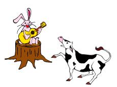 ウサギと子ウシ-(小)