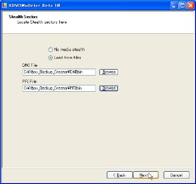 XDVDMulleter PFI.bin、DMI.binのロード