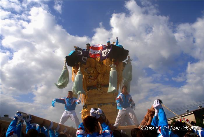 (新居浜太鼓祭り(まつり) 2009) 江口太鼓台 大江浜かきくらべ 新居浜市港町 大江浜・蛭子神社 2009年10月18日