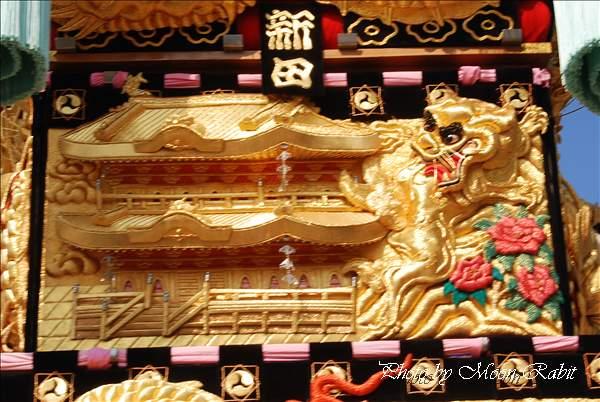 新居浜太鼓祭り2010 多喜浜新田太鼓台の飾り幕 多喜浜体育館付近 2010年10月17日