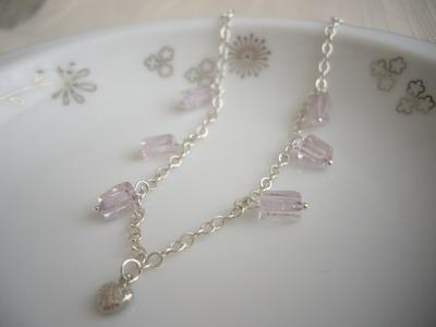 dangle gem bracelet with heart charm
