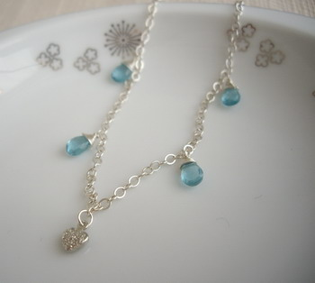 aqua drop bracelet with heart charm