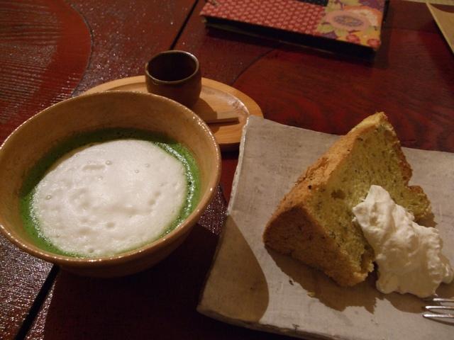 i-cafe黒蜜抹茶カプチーノと季節のシフォンケーキ