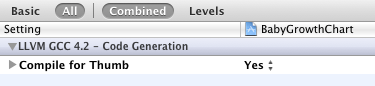 Xcode4でCompile for Thumbを設定