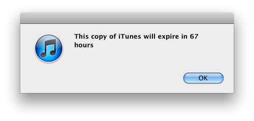 iTunes message
